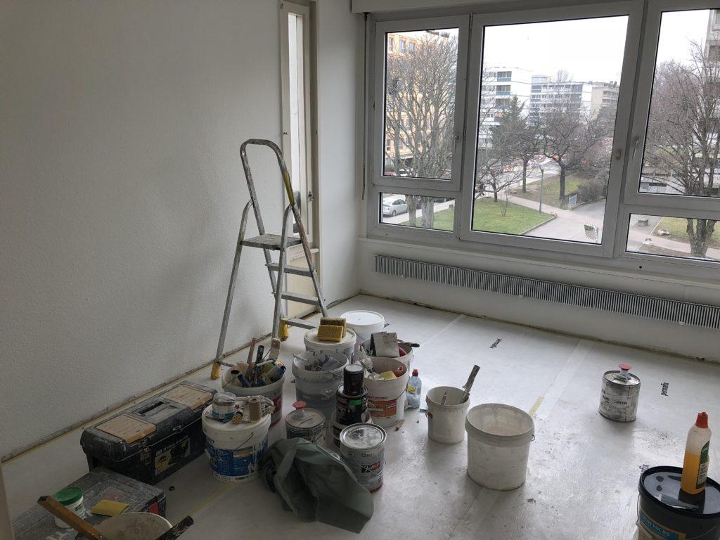 Rénovation prulay 30 salon parquet peinture plafond papier-peint