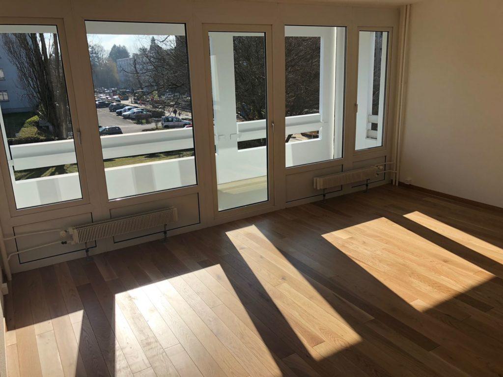 Rénovation salon parquet peinture plafonds murs sols